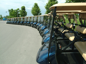 line of golf carts ready for event